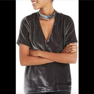 NEW $98 Madewell Choker Collar Velvet Tee Top XS